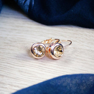 Mia Rose Gold Champagne Crystal Earrings