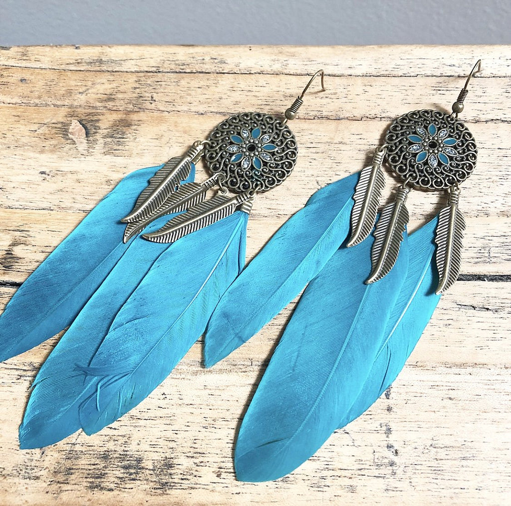 Feather earrings in Blue 2