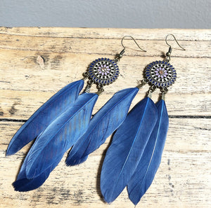 Feather earrings in Dark Blue