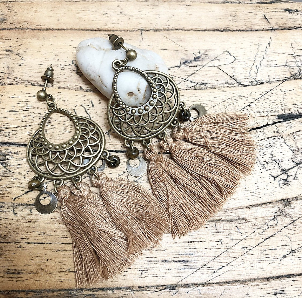 Tassel Boho Earrings in Tan