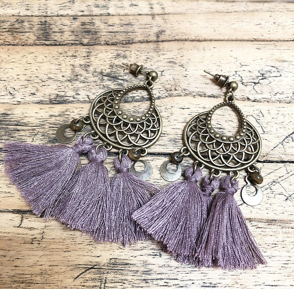 Tassel Boho Earrings in Mauve