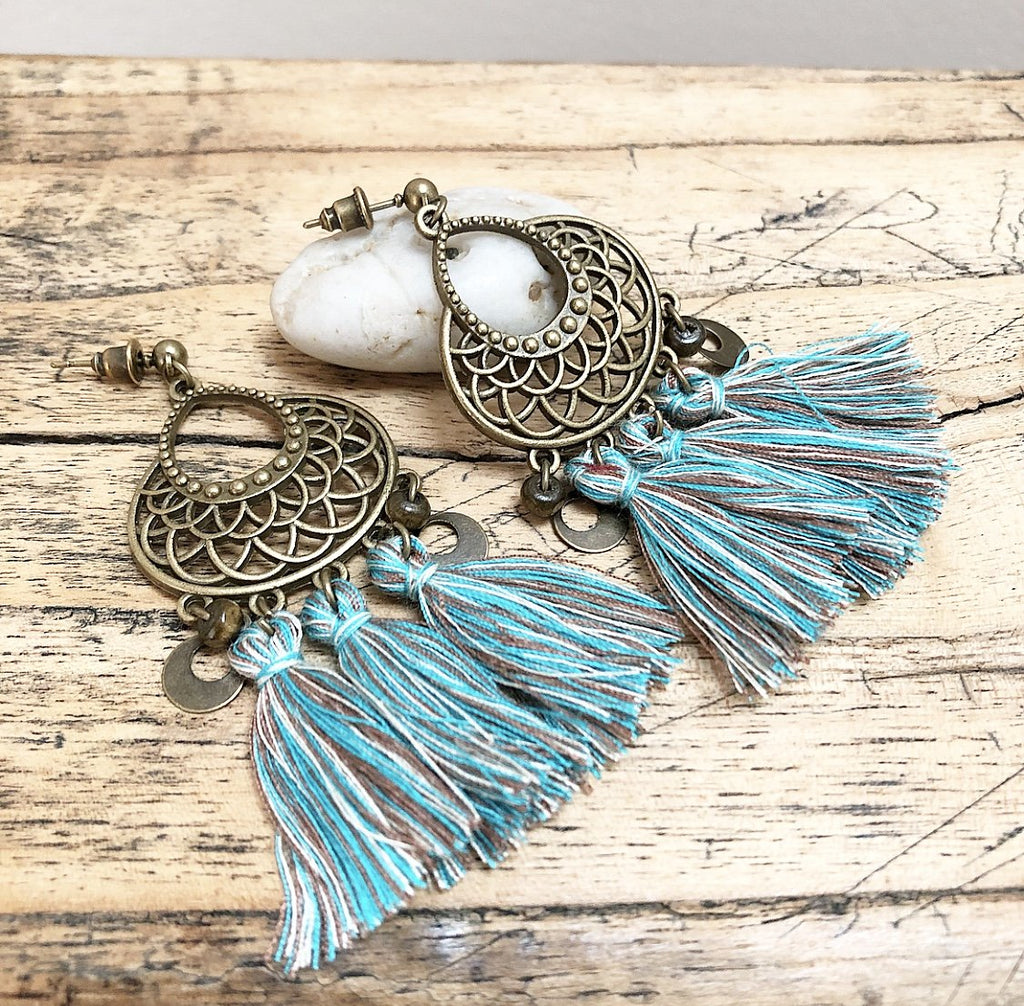 Tassel Boho Earrings in Blue