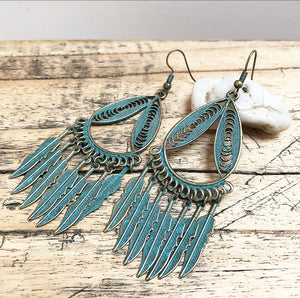 Boho Earrings in Vintage Green and Gold