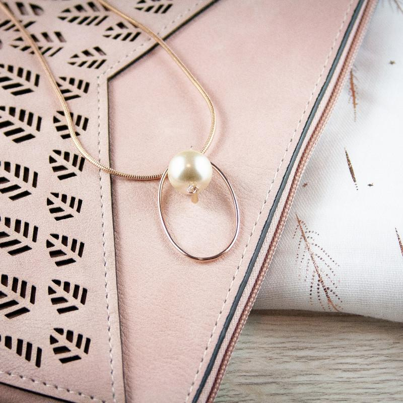 Julia Long Rose Gold Drop Necklace with Pearl