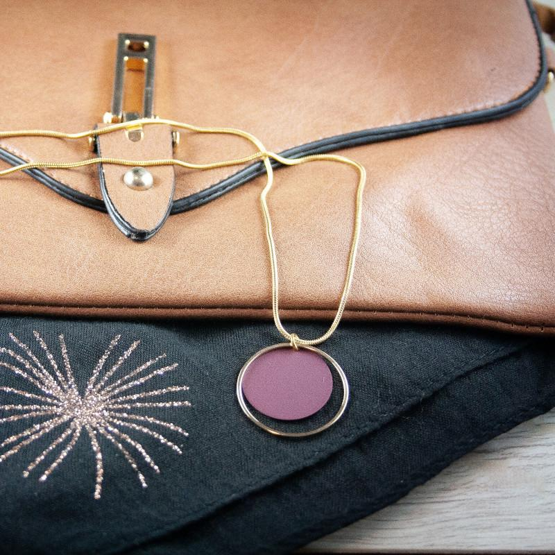 Cara Gold/Maroon Round Necklace