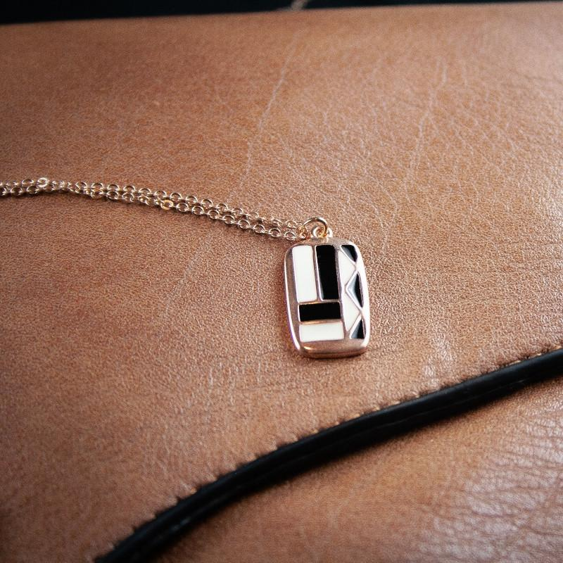 Deena Rose Gold Black/White Rectangle Pendant
