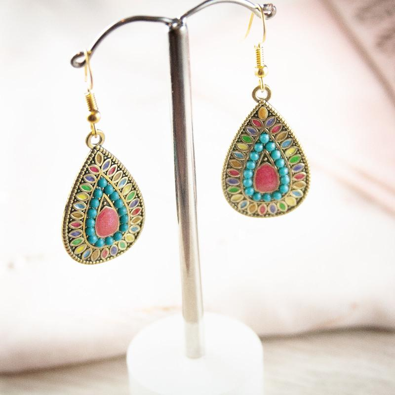 Boho Multi Coloured Earrings with Gold Base