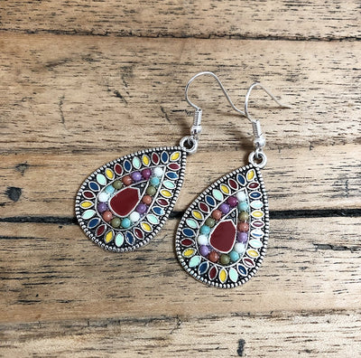 Boho Colour Earrings in Red and Multi Colour
