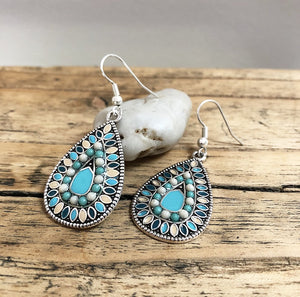 Boho Colour Earrings in Turquoise and Cream