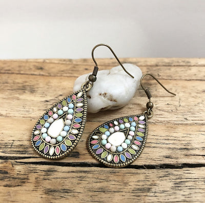 Boho Colour Earrings in Pastels with Gold Base