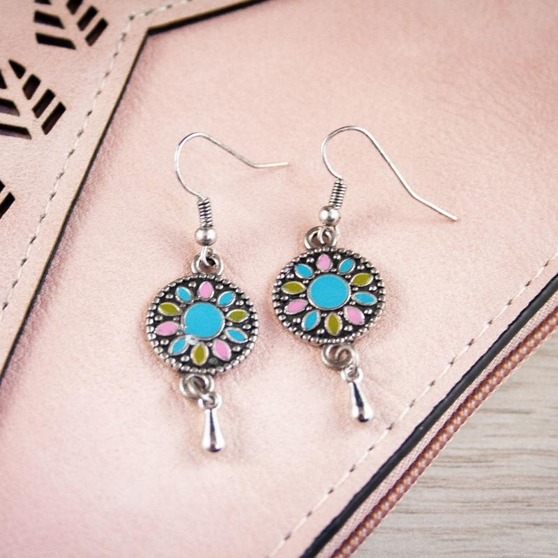 Jasse Silver Boho Earrings in Aqua/Pink