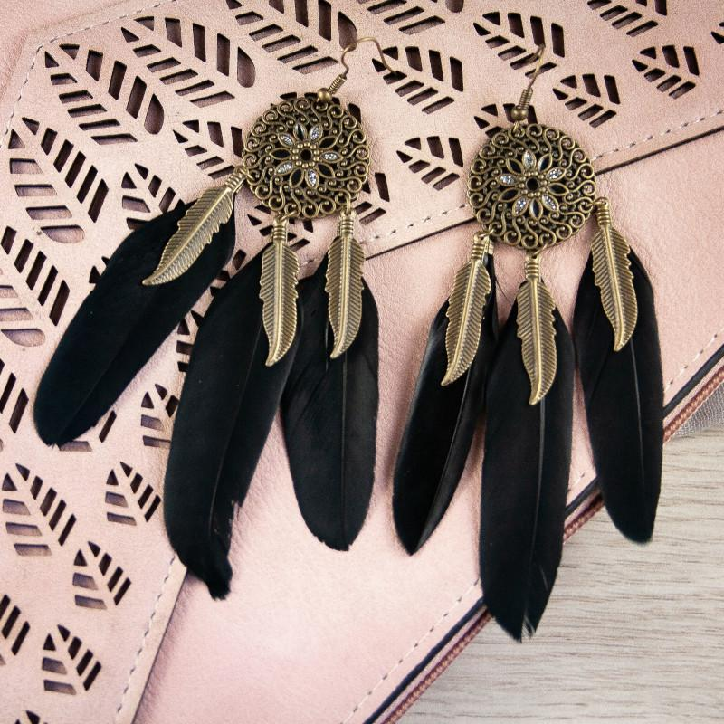 Feather earrings in Black with Diamontes