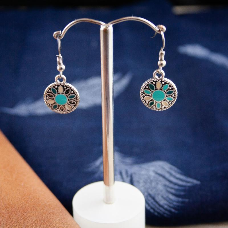 Jasse Silver Boho Earrings in Aqua/Cream
