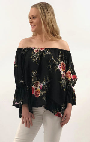 Ruby Top in Black with Autumn Florals