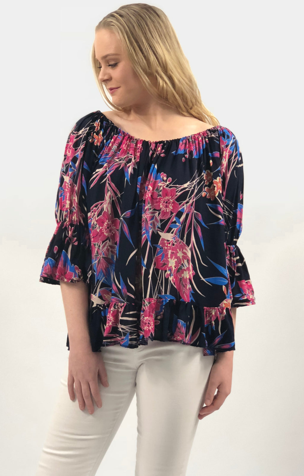 Ruby Top in Navy with Fuschia Floral