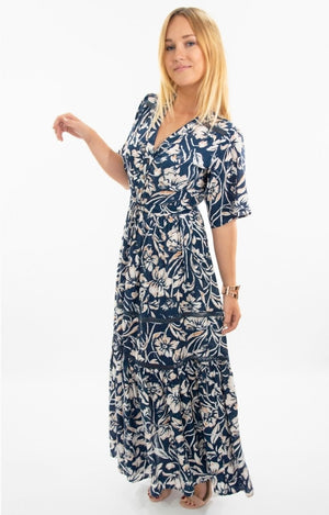 Renata Tiered Dress in Navy with White/Tan floral