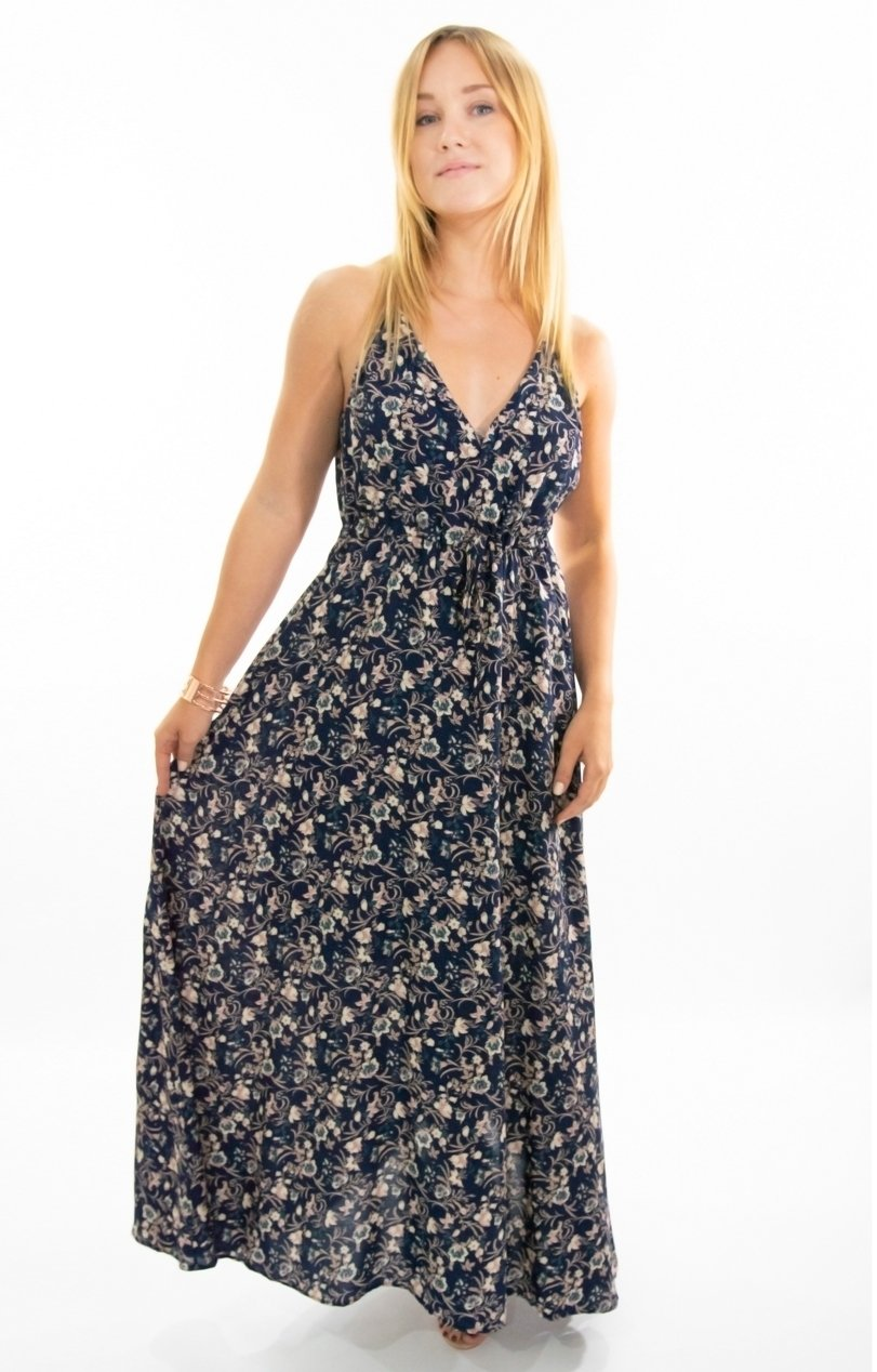 Lisa Maxi dress in Navy with Vintage Floral