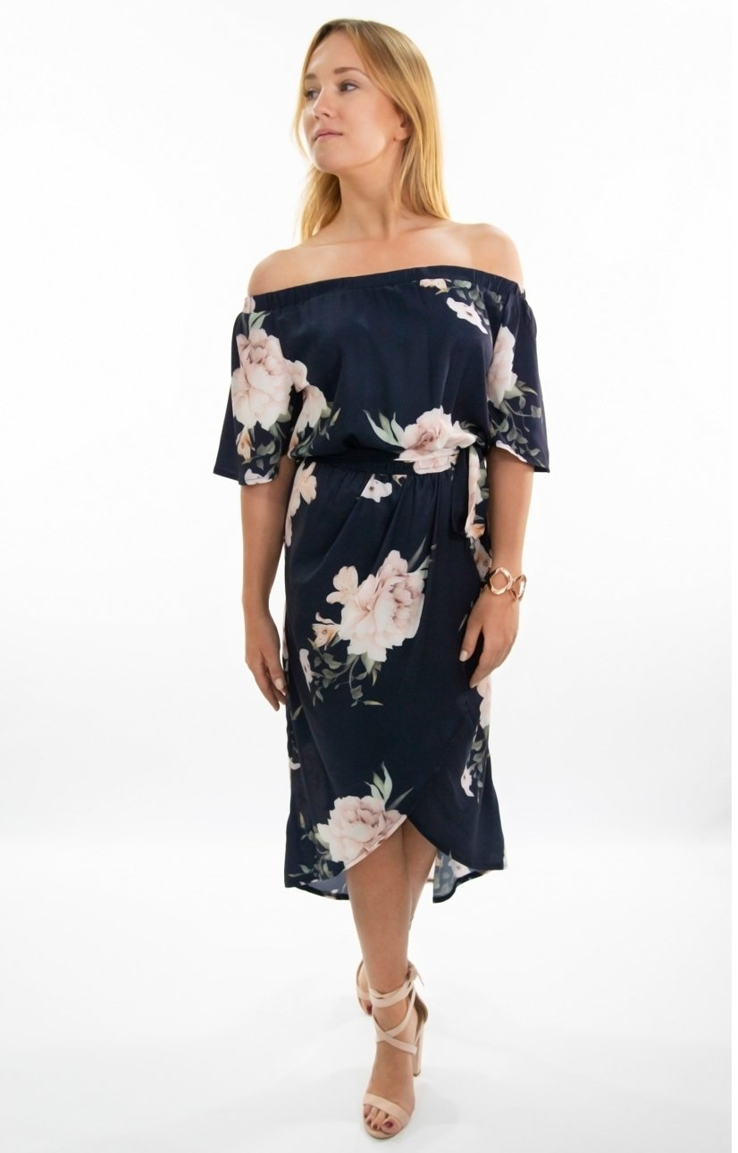 Noelle OTS Dress in Navy with Soft Pink Floral