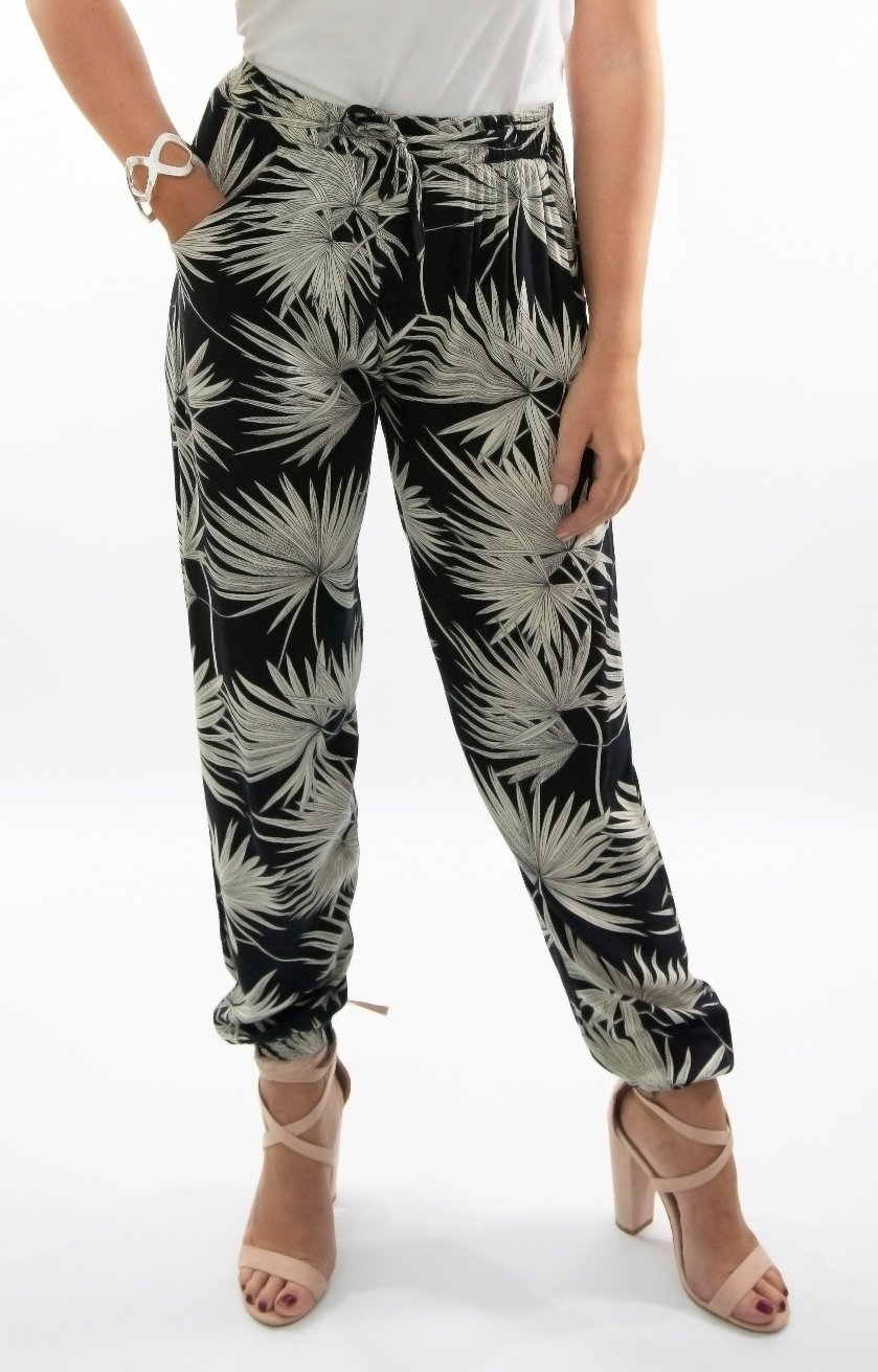 Nikita Pant in Black with Palm leaves
