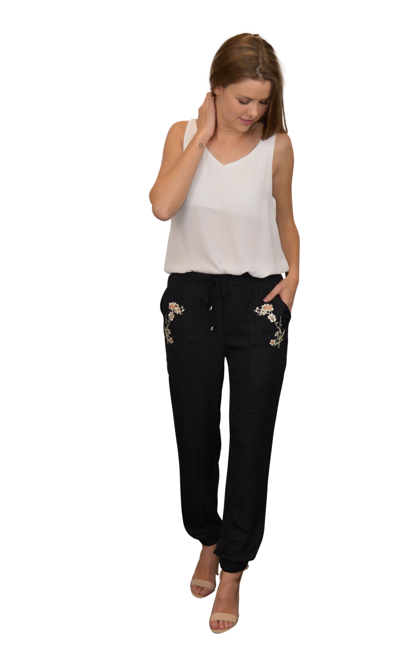 Misha Pant in Black with Ivory Blossoms