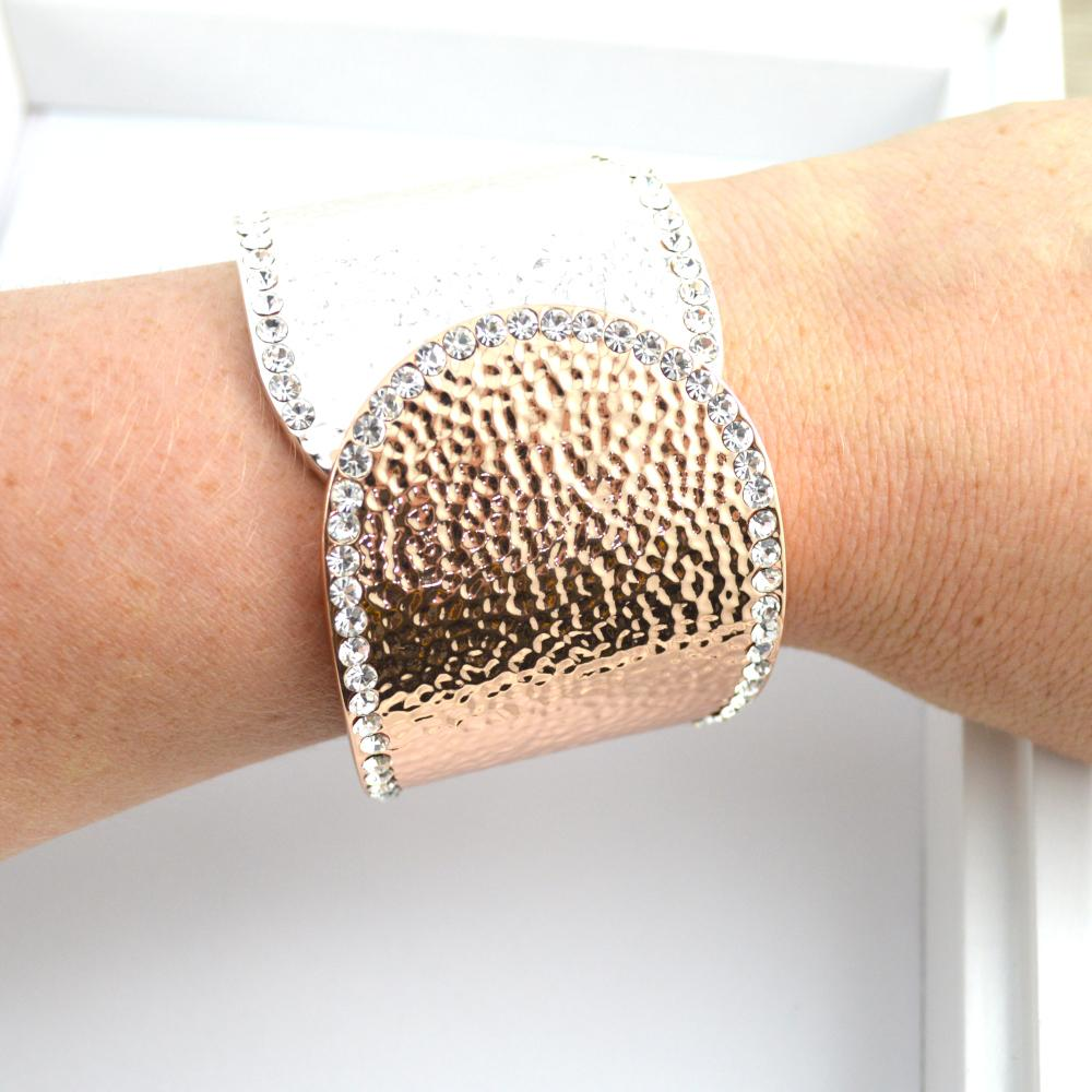 Rose Gold and Silver Wrist Cuff with Bling