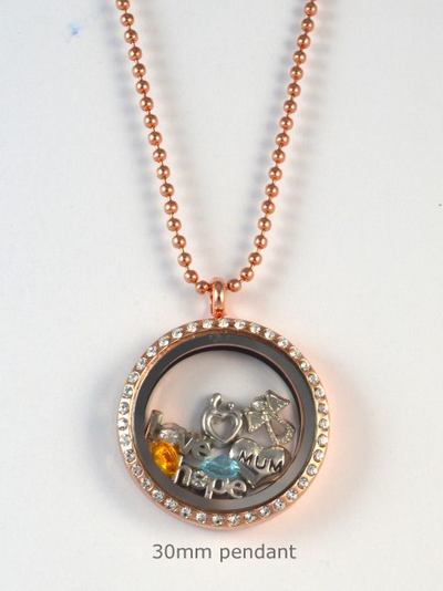 Rose Gold Crystal Memory Locket Pendant