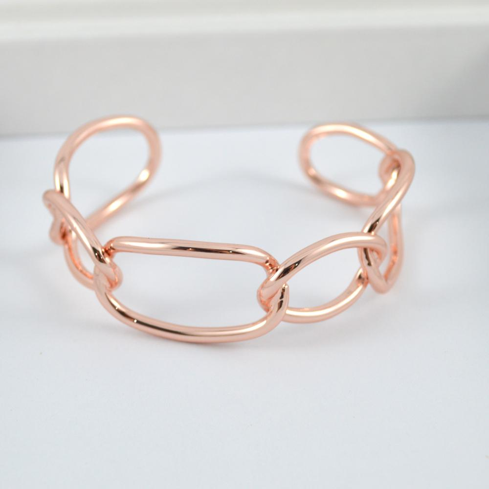 Rose Gold Solid Chain Bangle