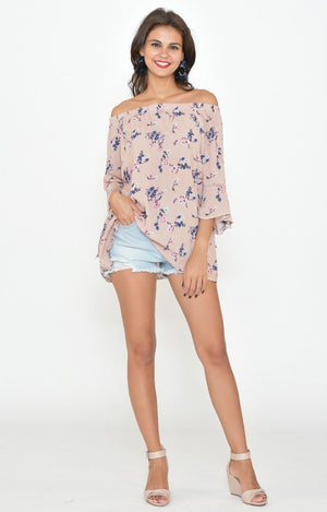 Tamsin Top in Dusty Pink with Navy Floral