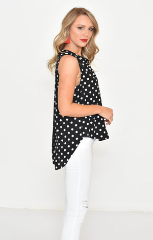 Ada Top in Black with White Polka Dots