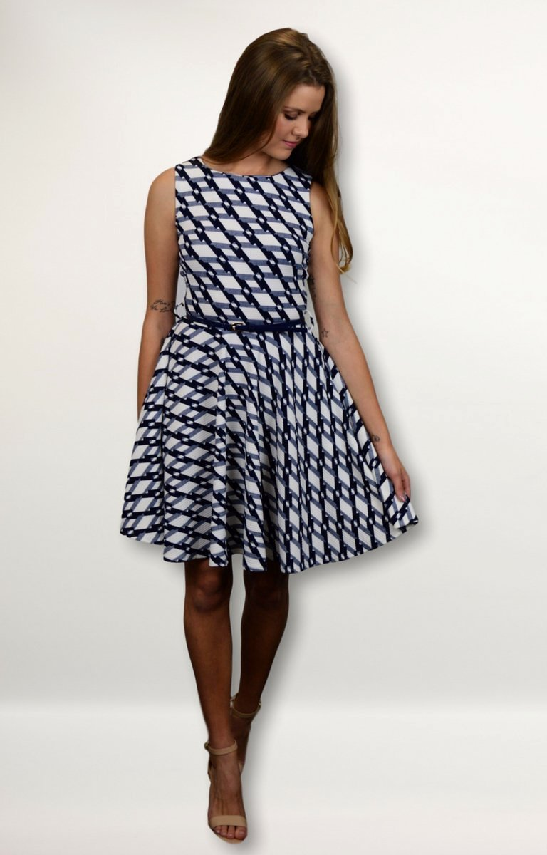 Indigo dress in White with Navy Diamond Pattern