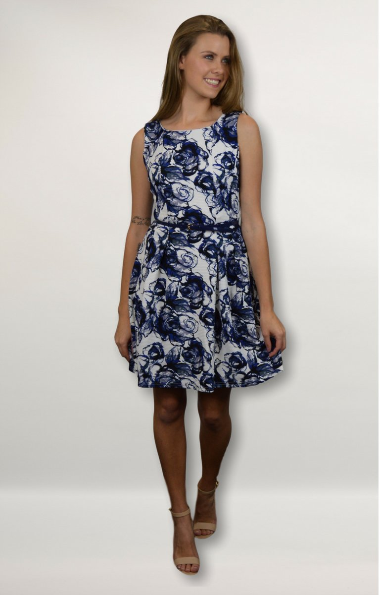 Missy dress in White with Navy Floral