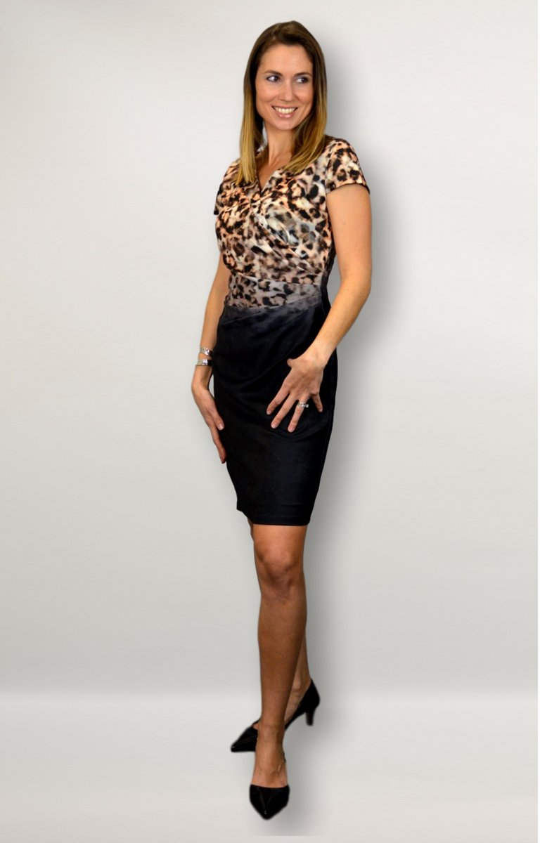 Aisha dress in black with leopard print