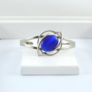 Silver Wrist Cuff with Blue Cats Eye