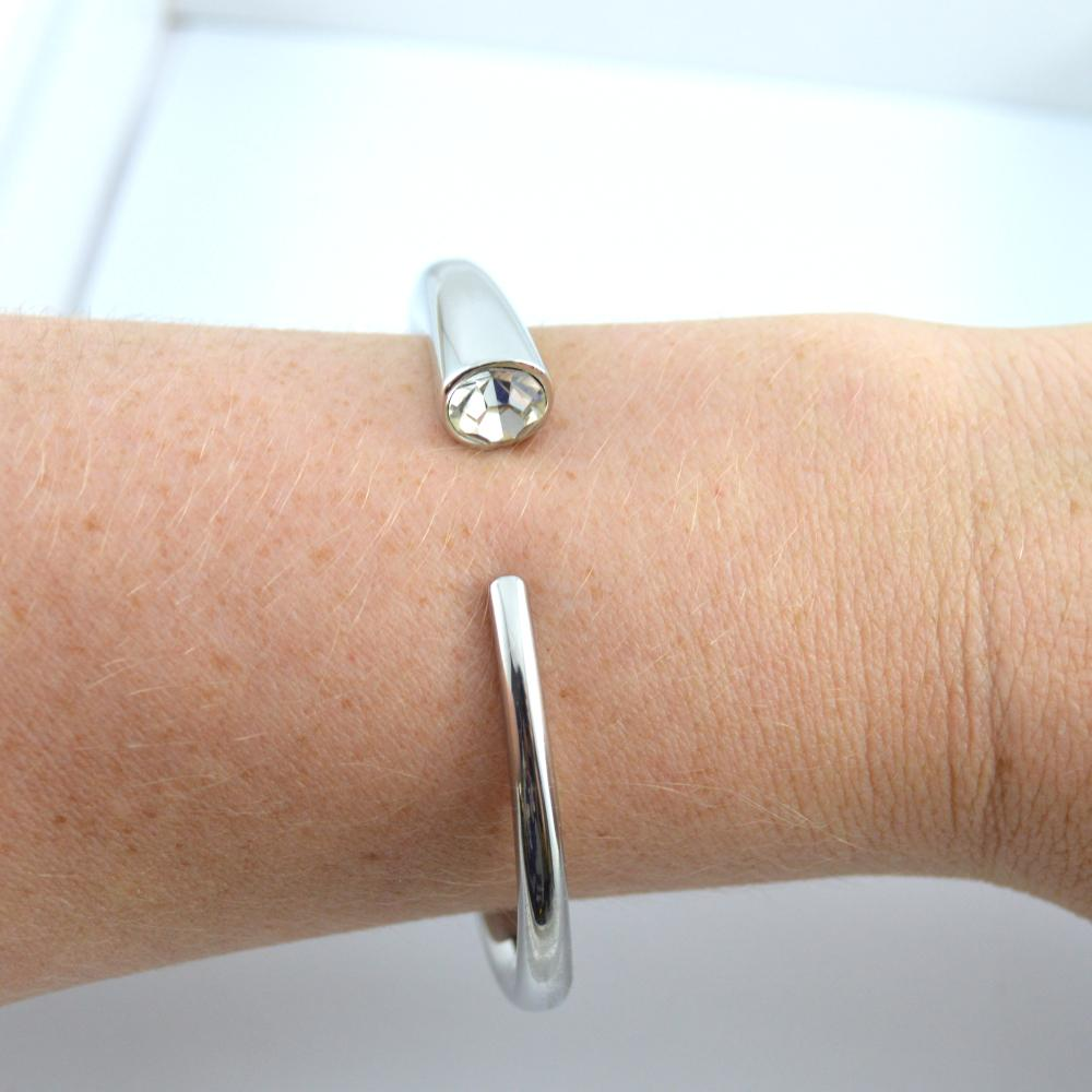 Silver Bracelet with Diamonte