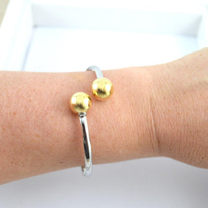 Silver Bracelet with Gold Ball
