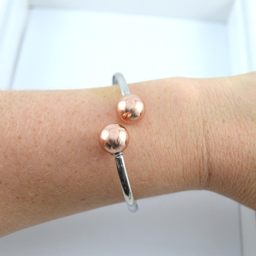 Silver Wrist Cuff with Rose Gold Ball
