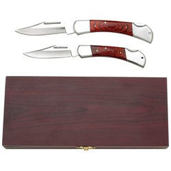 Maxam 2 piece Lockback Knife Set in Wooden Box SKCLASSIC - Sports & Games - Fits My Budget