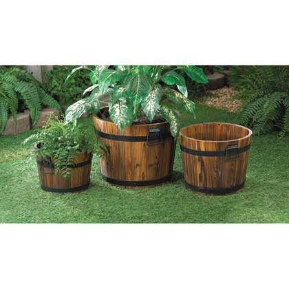 Apple Planter Trio with Aged Oak Barrel Look 10015114 Free Shipping - House Home & Office - Fits My Budget