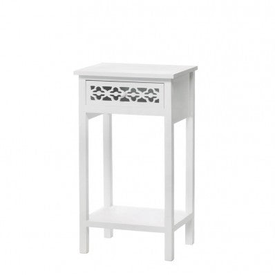Meadow Lane Classic Design White Side Table 10015873 Free Shipping - House Home & Office - Fits My Budget