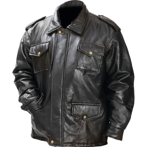 Leather Field Jacket Italian Stone Design by Giovanni Navarre CLEARANCE Free Shipping