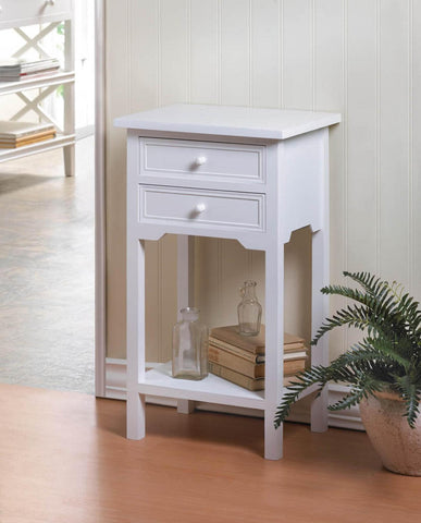 White Side End Table with 2 Drawers 10036644 Free Shipping