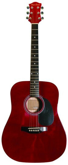 Main Street Transparent Red Dreadnought Acoustic Guitar MA241 - Musical Instruments - Fits My Budget