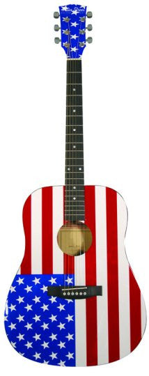 Main American Flag Street Dreadnought Acoustic Guitar MAAF - Musical Instruments - Fits My Budget