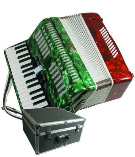 Mirage Mexican Flag Color Piano Key Accordion with Case T5005TC - Musical Instruments - Fits My Budget