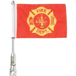 Diamond Plate BKFLGFR Motorcycle Flag with Fire Dept & USA Flag - Luggage & More - Fits My Budget
