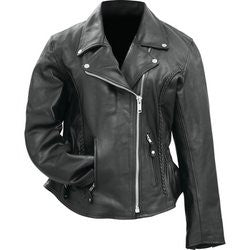 Rocky Mountain Hides BKLMJSLB Ladies?ÇÖ Solid Genuine Buffalo Leather Motorcycle Jacket