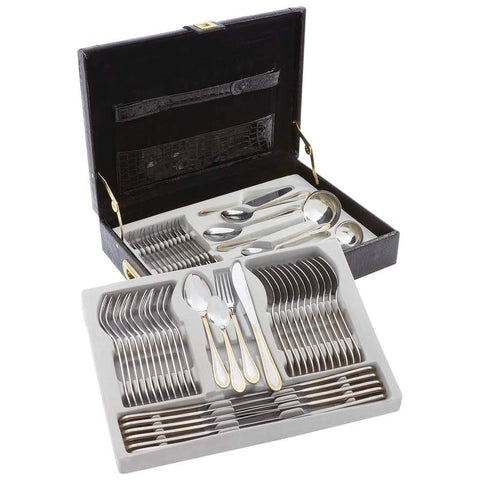 Sterlingcraft FW72G High-Quality, Heavy-Gauge Stainless Steel 72 piece Flatware and Hostess Set with Gold Trim
