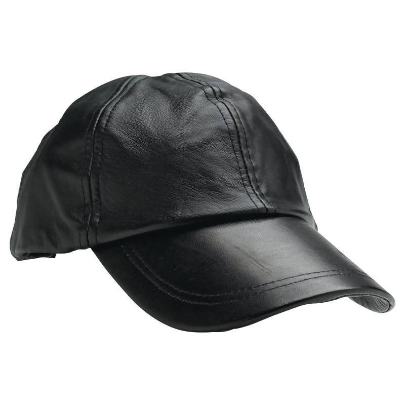 Black Solid Genuine Leather All American Baseball Cap GFCAP2 by Giovanni Navarre.