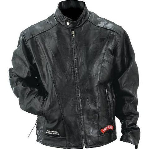 Diamond Plate GFCRLTR Rock Design Buffalo Leather Motorcycle Jacket GFCRLTR - Apparel & Accessories - Fits My Budget