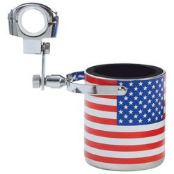 Diamond Plate GFCUPHSU Stainless Steel USA Flag Motorcycle Cup Holder - Luggage & More - Fits My Budget